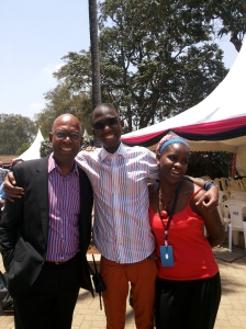 Just hanging out with Bob Collymore and Rashida Namulondo at the Storymoja Festival.